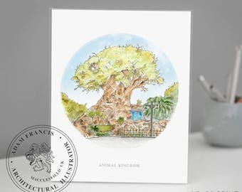 Disney's Animal Kingdom   Tree of life   Art Print. Taken from my detailed pen drawing & watercolour painting.