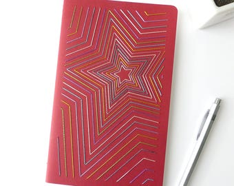 Hand embroidered notebook bright multicolor stars pattern-red-notes-writing accessory-A5-graphic textile design-man woman and teen gift