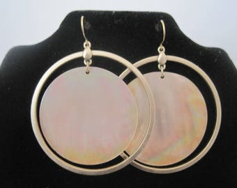 Gold Tone & Shell Hoops