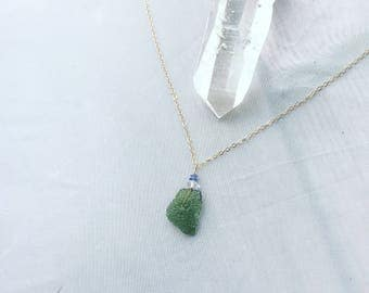 High Vibrations - Moldavite Tanzanite Herkimer diamond raw crystal necklace