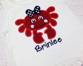 Girl's crab shirt, Girl's Beach shirt, Girl's summer crab beach shirt, Crab shirt, Personalized Crab Shirt, Beach Crab shirt