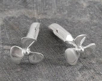 ON SALE NOW Handmade Cufflinks - Silver Cufflinks - Sterling Silver - Shirt Cufflinks - Propeller Cufflinks - Nautical Cufflinks - Boating C