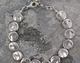 ON SALE NOW Sterling Silver Bracelet, Chunky Silver Bracelet, 925 Silver Bracelet, Organic Bracelet, Rustic Jewelry, Handmade Bracelet, Spec