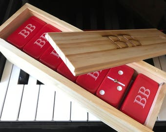 ENGRAVED Set of 28 Jumbo Red Double-Six Dominoes in an ENGRAVED Wooden Box Game Night Holiday Christmas Gift