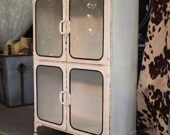 Vintage Medical Cabinet with Distressed White Paint - Cupboard - Kitchen or Bathroom, Office...