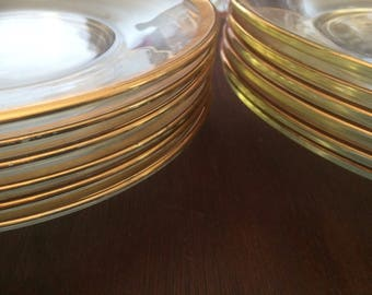 Vintage Gold Rim Dinner and Salad Plates - 6 each