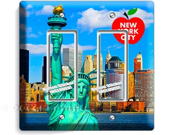 statue of liberty NYC New York City Manhattan skyline big apple double GFI light switch wall plate cover living room NY bedroom office decor
