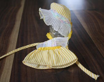 Yellow Dress and Sunbonnet for a Six Inch Doll