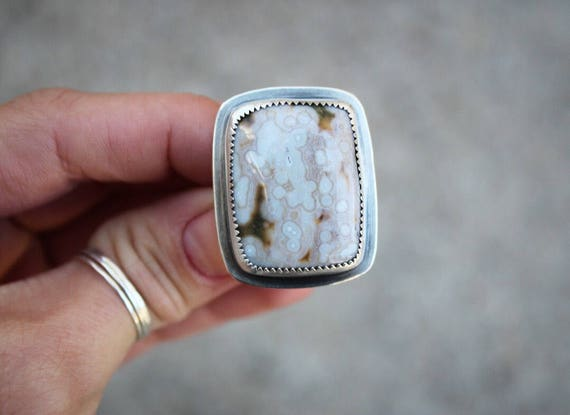 Sterling Silver Ocean Jasper Simply Set Ring