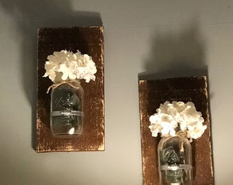 Rustic farmhouse mason jar wall decor flowers