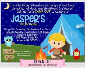 Camping Tent Boy Oudoor Sleepover:Design #147-Children's Birthday Party Digital Invitation File 4x6 or 5x7 Free Thank You Card with Purchase