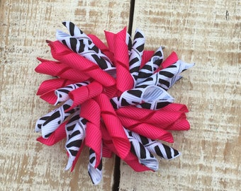 Hot Pink and Zebra Korker Bow - Korker hairbows