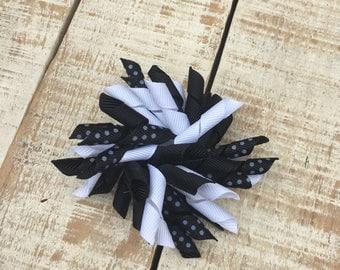 Black and White Korker Bow - Korker hairbows