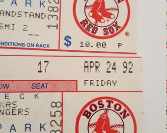 Vintage pair of Boston Red Sox ticket stubs vs Texas Rangers, grandstand tix, Red Sox win!