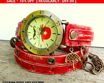 Wrap Watch, Bracelet Watch, Wrist Watch, Vintage Watch Mustache Leather Bracelet, red