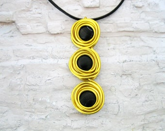 Gold Statement Necklace, Black Leather Necklace, Wrap Necklace, Long Pendant Necklace, Unique necklace, Black Agate necklace,