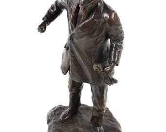 Man clenching his fists -1920s Bronze Sculpture -Signed