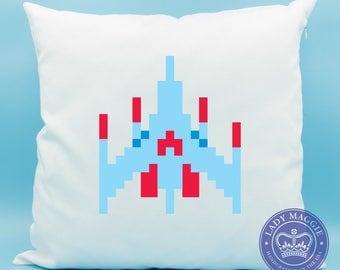 Galaga Pillow - Galaga Single Player Classic Arcade Game Pillow - Alien Arcade Video Game Cushion - Japanese Arcade Game - 80s Arcade Game