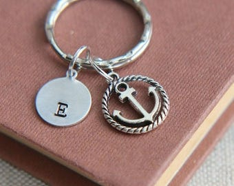 SALE Anchor Keychain, Anchor Keyring, Personalized Keychain, Monogram Initial keychain, Nautical Keychain, Gift for him, Gift for her,Best F