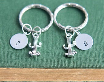 Cactus Keychain, Cactus Keyring, Set of 2 Keychains, Personalized Keychain, Initial Keychain, Best Friend Gift, Sister Gift, Friendship Gift
