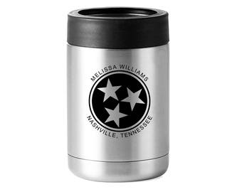 Tennessee Tri-Star Stainless Steel Drink Holder - 12 Ounce - Personalized Name and City