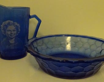 "Miniature ""Shirley Temple"" Pitcher and Bowl - Good Condition - Vintage - Marked"
