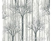 Memorial Day Sale Baby It'S Cold Outside~Silver Trees Cotton Fabric By Hoffman