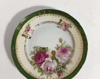 Vintage Green Gold Plate Roses Germany