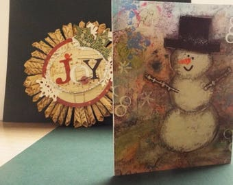 Mixed Media Snowman Note Card
