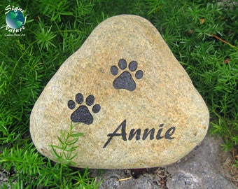 Pet Memorial Stone, 7in-9in - Custom Hand Engraved Pet Memorial Stone to Honor Your Four Legged Family Members