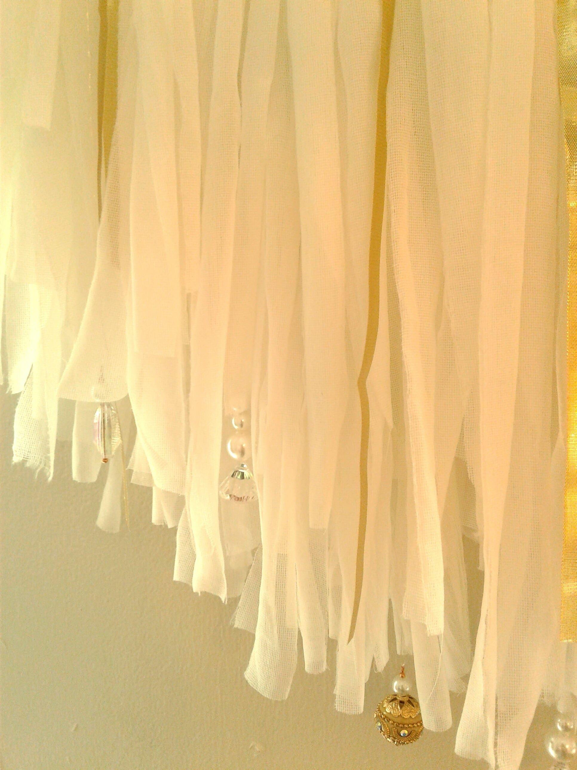 Glam Bohemian White Chiffon Jeweled Tutu Wall Hanging Wall Art Home ...