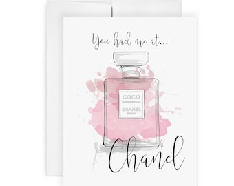 You Had Me At Chanel - Greeting Card, Birthday Card, Just Because Card, Art Card, Fashion Illustration, Stationery