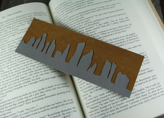 Standing Stones ~ Faux Leather and Suede bookmark ~ Craigh Na Dun ~ Outlander Inspired
