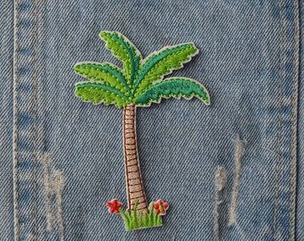 Embroidered coconut tree Iron On Back Patch,Sew on coconut tree Applique