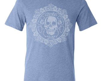Skull and Roses Triblend Tee - by Kiss a Cow