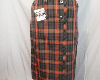 1950s Cotton Plaid Wiggle Skirt Dan River High Waist Dead Stock Bad Girl Skirt 26 Waist