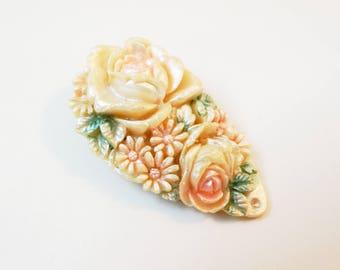 1930s Carved Celluloid Dress Clip Floral Iridescent Dress Clip