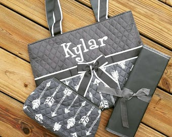 Arrow Quilted Diaper Bag with Changing Pad & Cosmetic Case - Boy Diaper Bag - Baby Shower Gift - Black Diaper Bag Tote