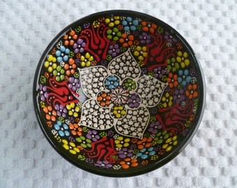 "Black Ceramic Bowl, Turkish ceramic, 5"" bowl,  small bowl, desert bowl, black, trinket bowl, prep bowl, nut bowl,  pearl design"