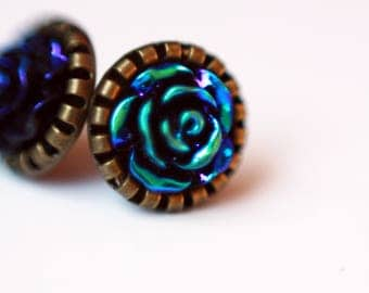10 mm ear studs, vintage, Cabochon