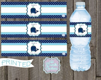 Nautica-Whale Water Bottle Lables-Printed
