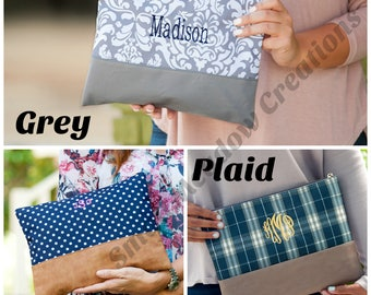 Large Cosmetic Bag- FREE Personalization, Monogrammed Cosmetic Bag- Extra Large Accessory Bag-Personalized Bag, Bridesmaid Gift, Make-up bag