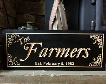 Personalized Carved Black Name Sign Family Sign Established Signs Custom Anniversary Gifts  Last Name Signs Welcome Wall Art Benchmark Signs