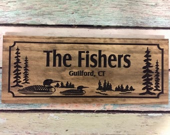 Personalized Wooden Carved Sign, Rustic Wood Sign, Cabin decor, Lake Loons, Lake house, Custom carved sign, Fathers Day Gifts, Lake Home