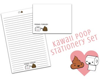 Kawaii Stationery - Poop Stationery, letter writing paper, kawaii letter writing paper, penpal gifts