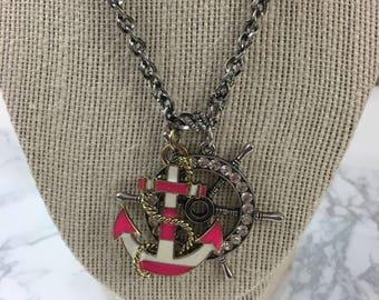 Anchor & Shipwheel Pendant Necklace