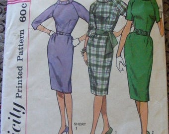 "ON SALE 35% OFF 1960's Vintage Mid Century Misses' One Piece Dress Size 10 Bust 31"" Simplicity Sewing Pattern 4051"