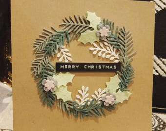 Felt wreath Christmas card