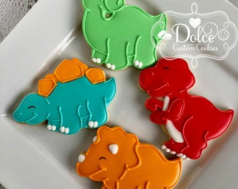 Dinosaur Tyrannosaurus Rex Stegosaurus Brontosaurus Triceratops Birthday Cookies