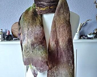 """Ladies Felt Scarf, Luxury Cobweb Scarf """"Woodland"""" Hand Felted Merino Wool & Silk 156 x 33 cm, Beautifully Soft and Lightweight"""